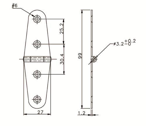 Gångjärn 27x101mm RF