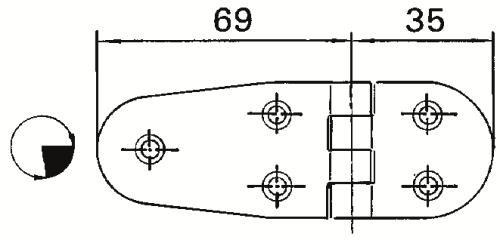 Dörr-/luckgångjärn 69+35x38 mm RF