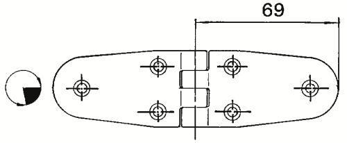 Dörr-/luckgångjärn 69+69x38 mm RF