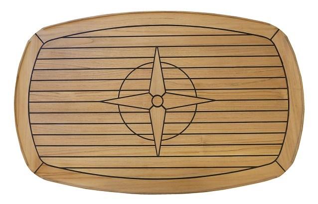 Teakbord nåtat rundade kanter 62x96cm