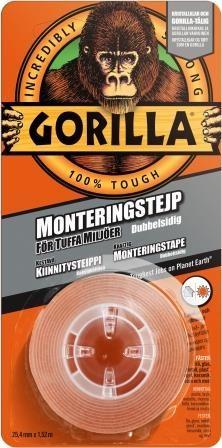 Gorilla Monteringstejp 25.4mm x 1.52m