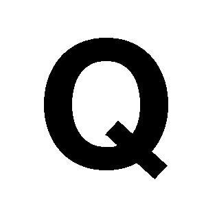 Reg-bokstav Q 45mm Svart