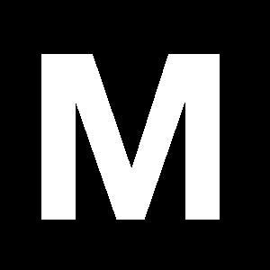 Reg-bokstav M 45mm Vit