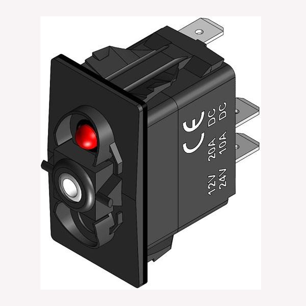 Strömbrytare On-Off-(On) med LED-diod