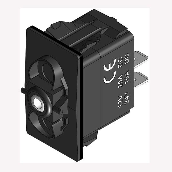 Strömbrytare (On)-Off-(On) utan LED-diod