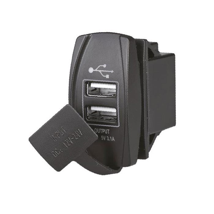 USB-uttag, dubbla anslutningar 1+2.1A 12/24V
