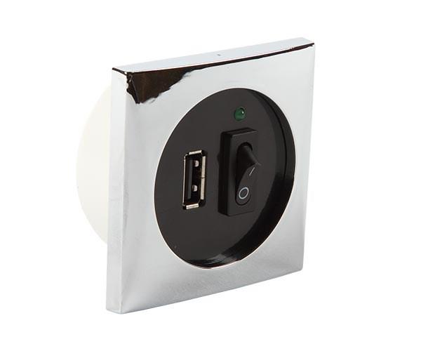 Båtsystem USB-uttag krom/500095