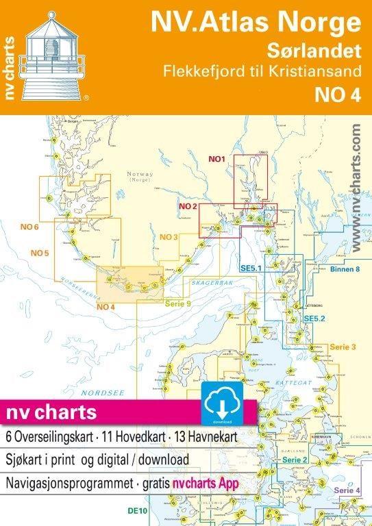 NO 4 NV.Atlas Norge Sørlandet Vest - Flekkefjord till Kristiansand