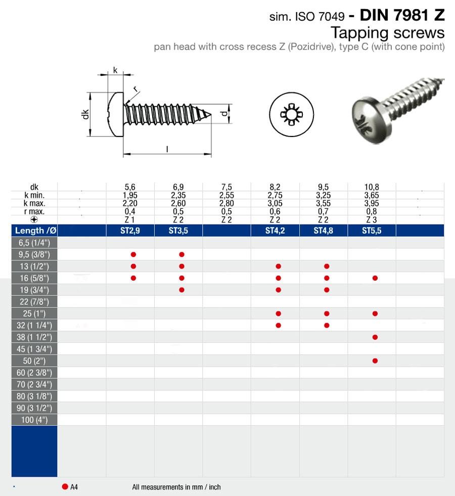 Skruv krysspår 4,2x32mm. FP=20