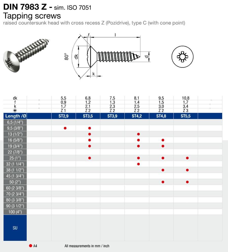 Skruv kullrigförsänkt 4,8x32mm. FP=10