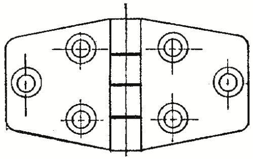 Dörr-/luckgångjärn 37+37x38 mm RF
