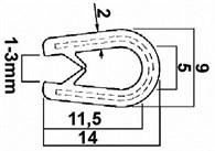 Kantlist svart, kant 2-4mm. Per meter