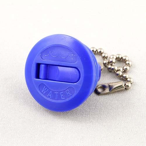 Lock vatten blå plast