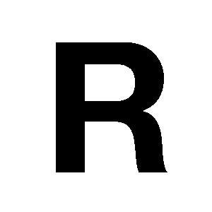 Reg-bokstav R 90mm Svart