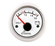Voltmätare analog Wema Vit 12V
