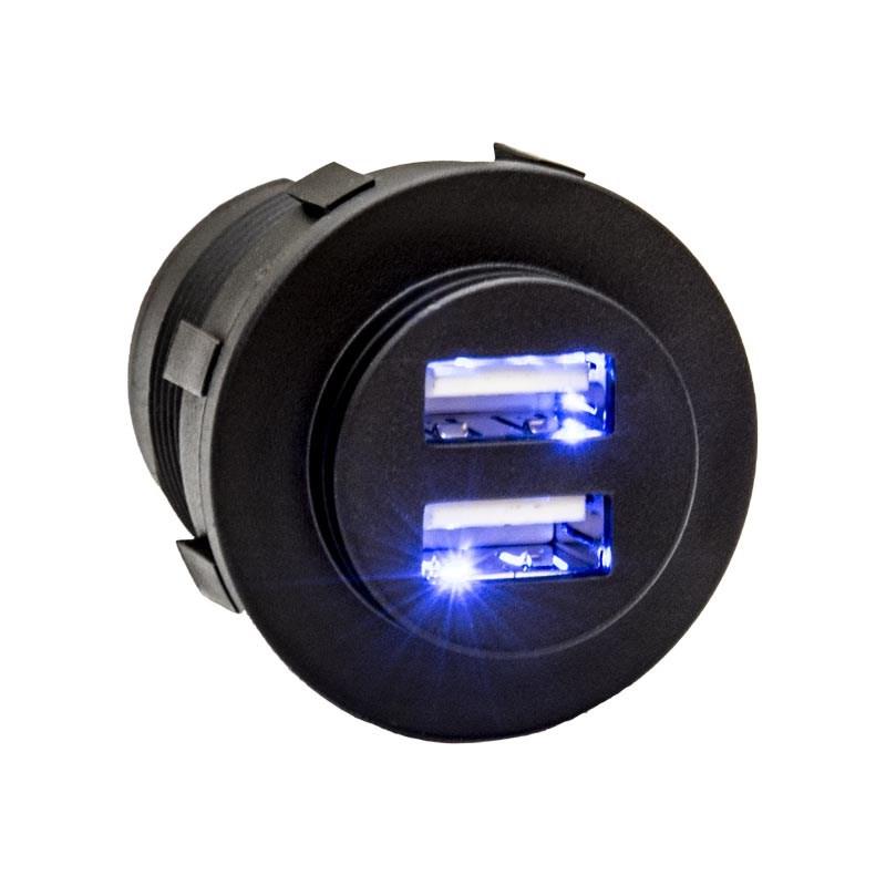 USB-Uttag >5A Svart MED belysning