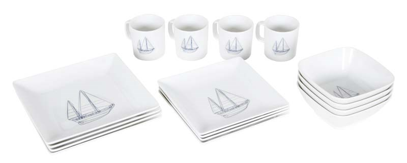 Servis 16 delar fyrkantig Sailboat