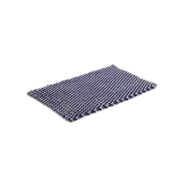 Matta Rope flätad bomullsrep blå/natur 50x80cm