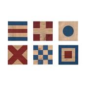 Glasunderlägg signalflaggor trä 6st