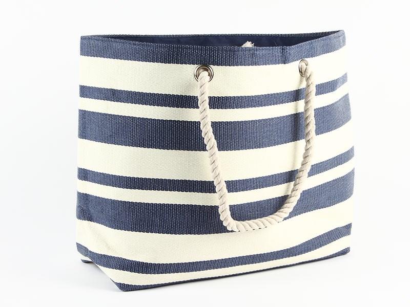 Strandväska blå/vit randig